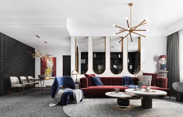 现代轻奢客厅 餐厅 厨房 书房
