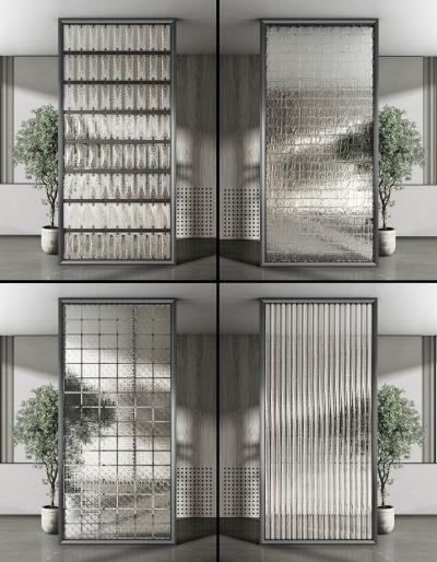 现代玻璃屏风