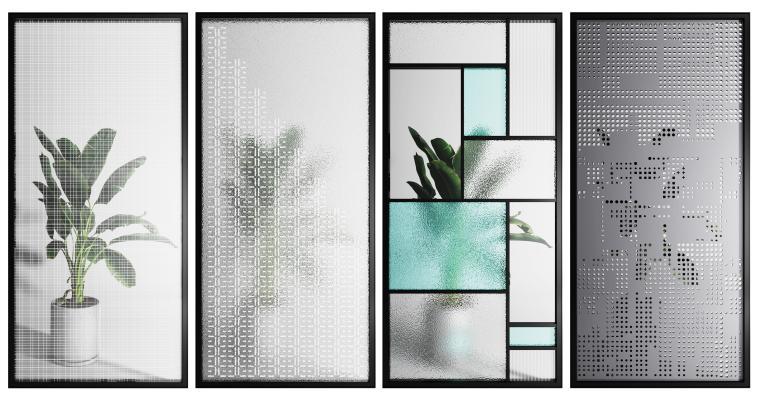 现代金属玻璃屏风