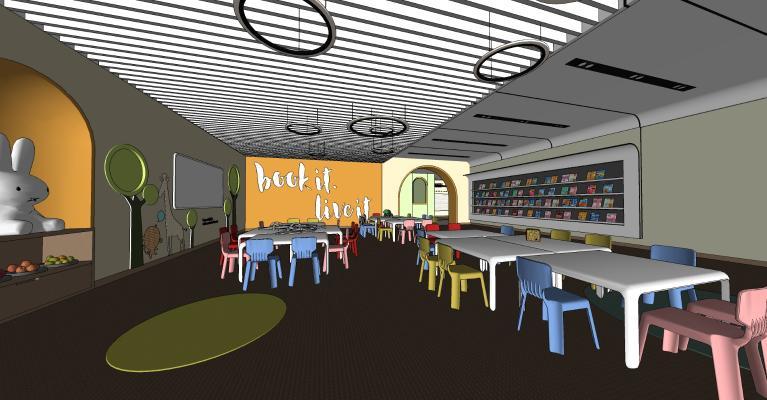 现代风格图书馆 幼儿园 课桌