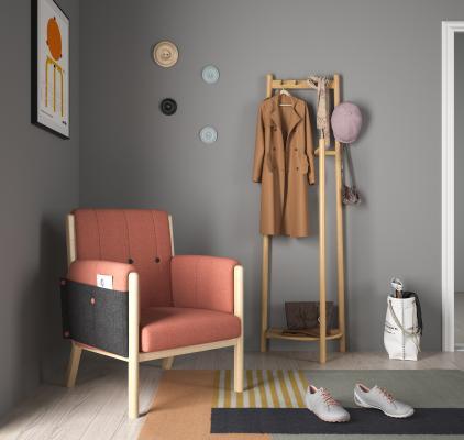 北欧风格休闲椅 晾衣架