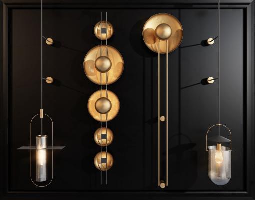 新中式金属壁灯组合