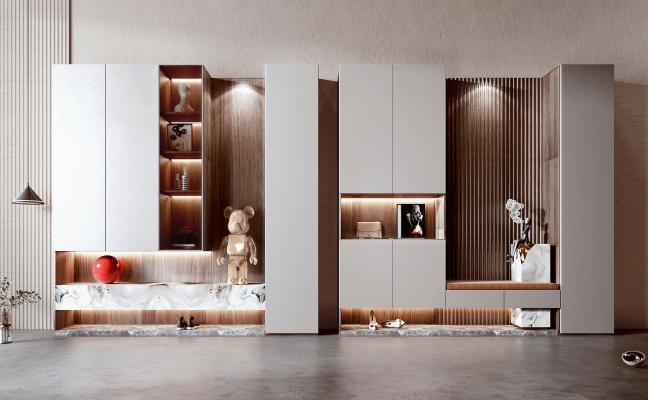 现代鞋柜组合 鞋子 装饰品