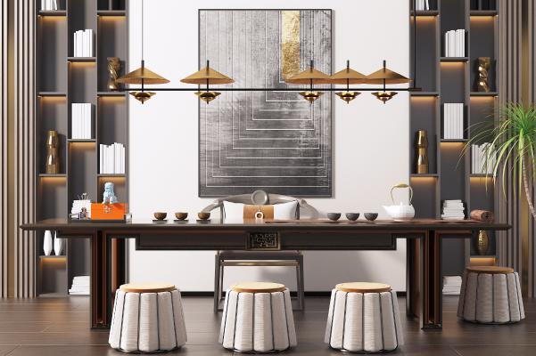 新中式休闲茶桌椅组合 书柜 吊灯