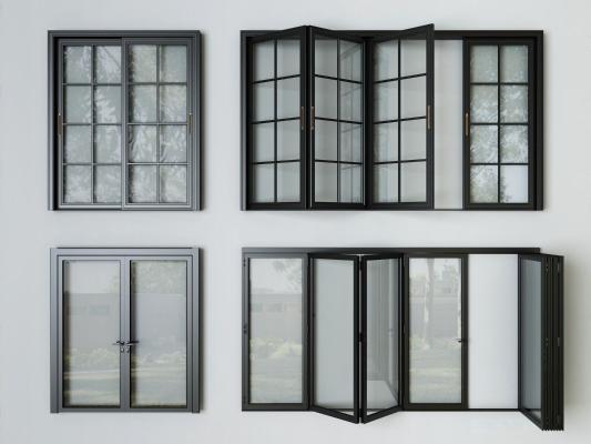 现代玻璃折叠门