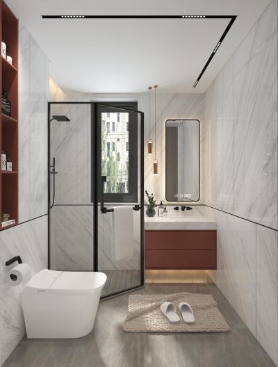 现代卫生间 浴室 吊灯 镜子