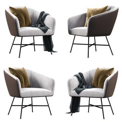 现代休闲椅 抱枕 毯子