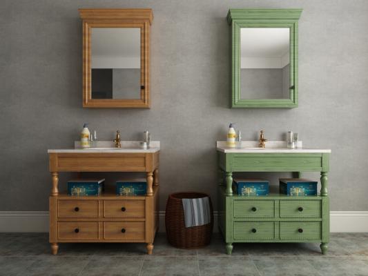 美式乡村田园地中海浴室柜洗手台洗脸盆组合