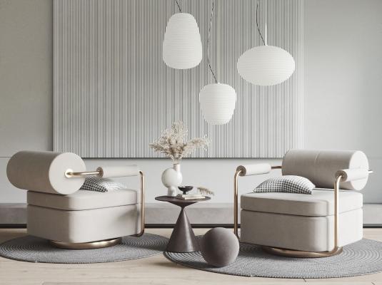 现代单人沙发 边几组合