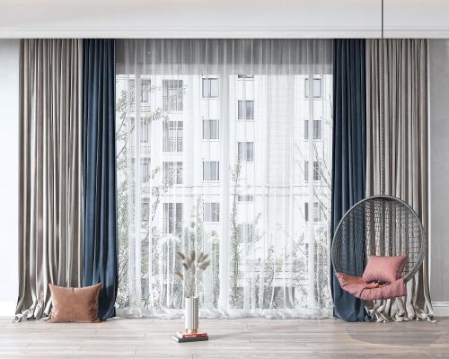 现代窗帘 吊椅 抱枕