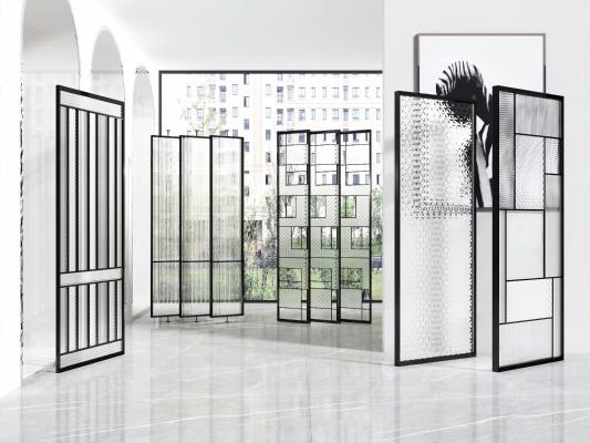 现代金属玻璃屏风隔断