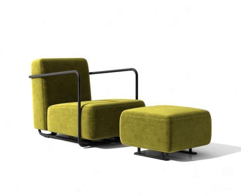 现代单人沙发 脚踏组合