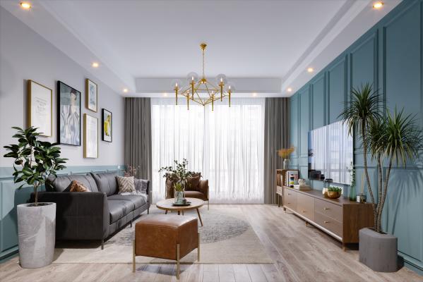 北欧风格客厅 盆栽 沙发 挂画 电视柜 电视 窗帘 地毯 矮凳