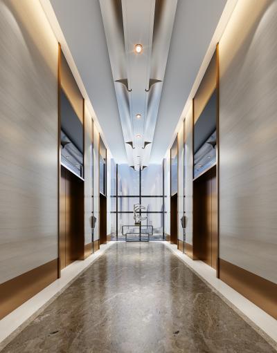 现代酒店电梯间 过道