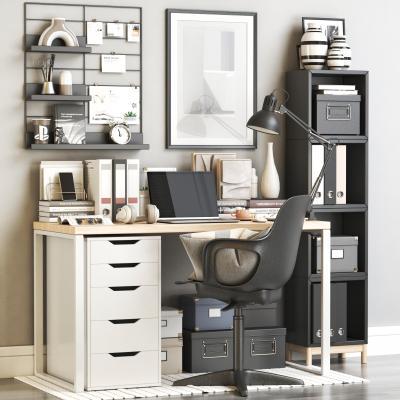 现代书桌椅 写字台 椅子 笔记本