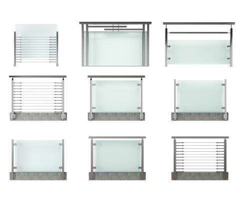 现代玻璃栏杆扶手组合