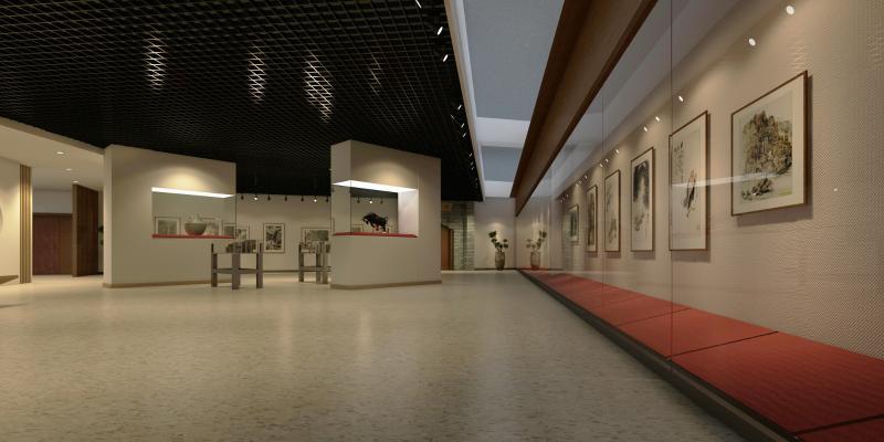 新中式博物馆 艺术展厅 展板 书画 展柜 盆栽 雕塑 艺术品