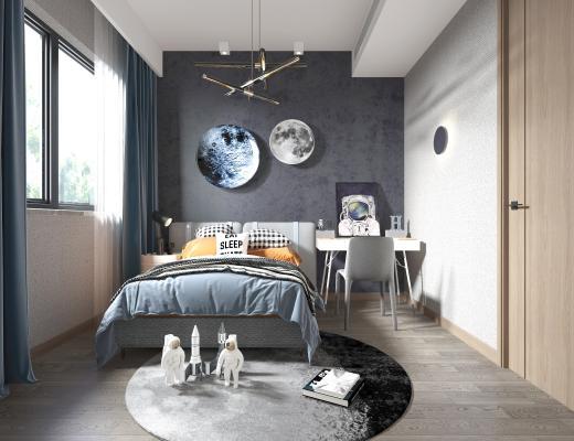 现代高级灰男孩儿童小孩房 玩耍区地毯 火箭太空人服玩具
