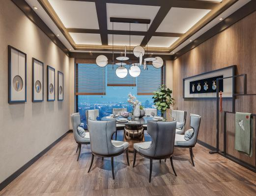 新中式餐厅包间 圆形餐桌椅 吊灯