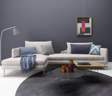 现代沙发茶几 台灯组合