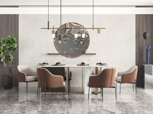 现代餐厅 餐桌椅 吊灯