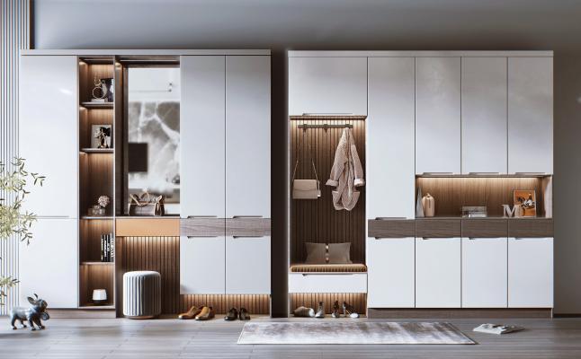 现代风格鞋柜组合 鞋子 挂衣架
