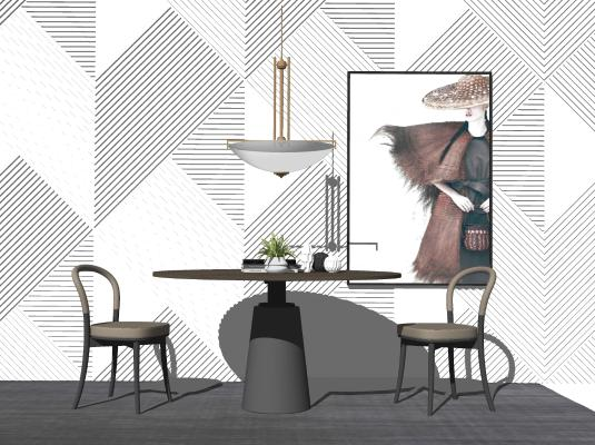 现代圆桌椅摆件组合