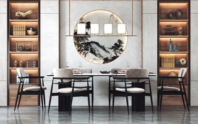 新中式餐桌椅组合 装饰摆件 吊灯