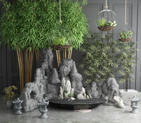 中式假山石头竹子园艺小品组合