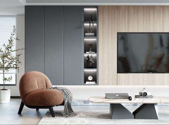 现代沙发椅 电视柜组合