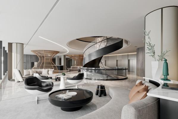 牧笛设计现代售楼处接待区
