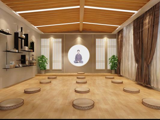 日式瑜伽静坐区 打坐区 打坐垫