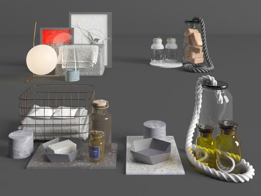 现代洗浴用品组合