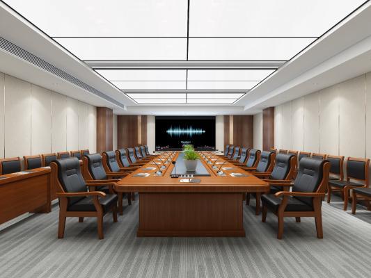 新中式工装会议室 会议桌椅