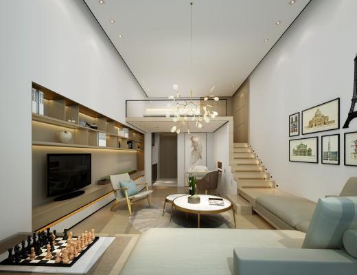 现代时尚LOFT复式公寓客厅