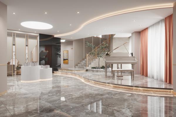 现代美容院休息娱乐区 楼梯间 景观小品 石头 钢琴 屏风隔断