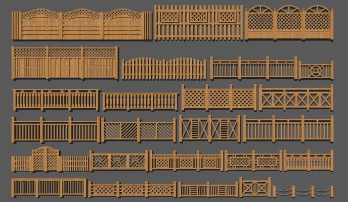 新中式實木欄桿 護欄 小院圍欄