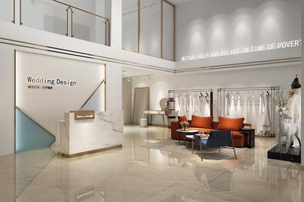 北欧风婚纱摄影店 形象墙 休闲沙发 婚纱鹿摆件 收银台 衣架 镜子 展示台