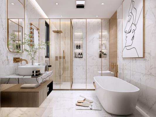现代卫生间 淋浴房