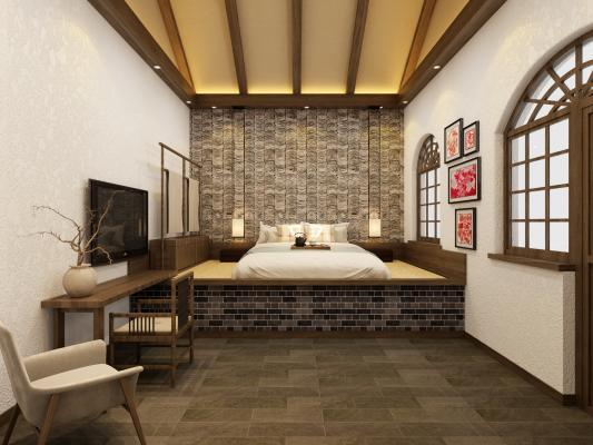 新中式乡村民宿窑洞客房 酒店卫生间 坡屋顶