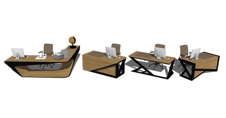 现代工业风办公桌椅组合