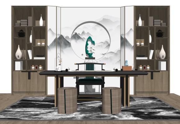 新中式书房 书桌 书椅 书柜