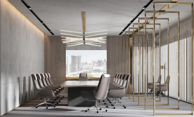 现代风格会议室 会议椅 吊灯