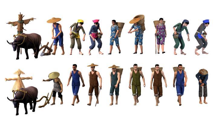 中式农民 多人 虚拟人物