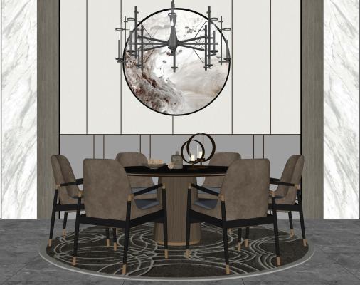新中式餐桌椅组合 吊灯 挂画