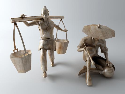 传统中式人物雕塑