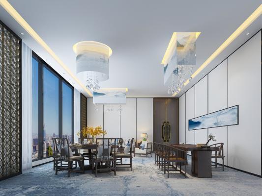 新中式餐廳包房 吊燈 沙發
