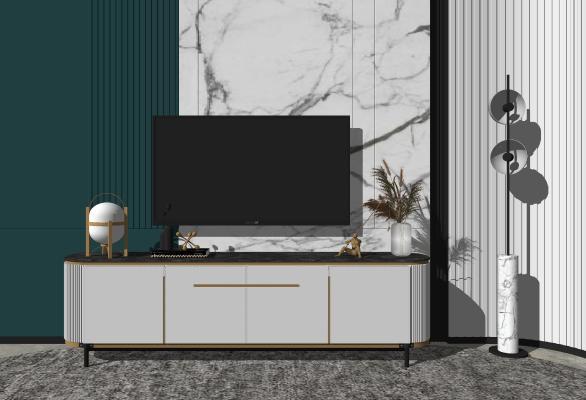 现代轻奢电视柜 摆件组合
