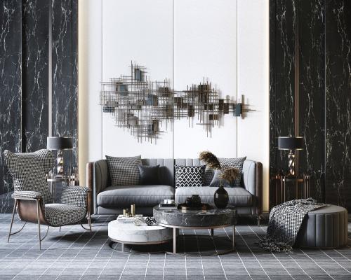 现代高级灰轻奢沙发 茶几 金属墙饰组合