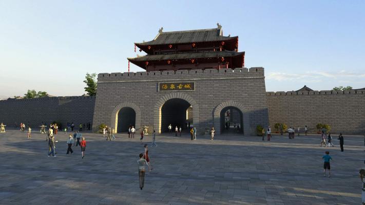 中式古建 仿古街道 大殿